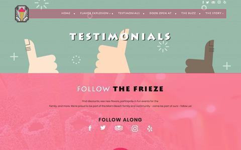 Screenshot of Testimonials Page thefrieze.com - Testimonials - The Frieze - captured Nov. 8, 2017