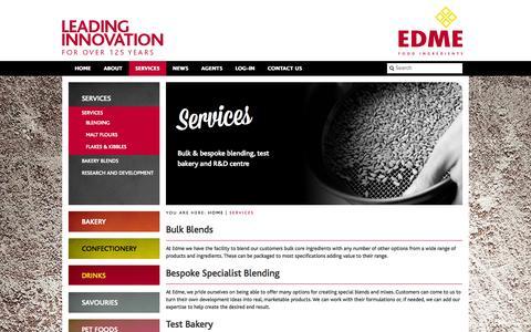 Screenshot of Services Page edme.com - Services - EDME - captured Oct. 1, 2014