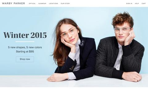 Screenshot of Home Page warbyparker.com - Warby Parker - captured Nov. 16, 2015