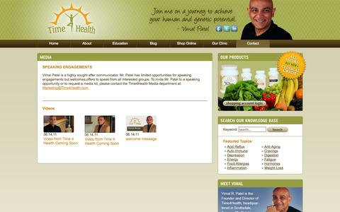 Screenshot of Press Page time4health.com - Media   Scottsdale Nutrition Consultations   Protein Shakes   Buy Supplements   Natural Vitamins - Time 4 Health - captured Oct. 9, 2014
