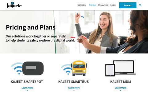 Screenshot of Pricing Page kajeet.net - Wifi Pricing Plans for Students   Kajeet - captured Oct. 14, 2018