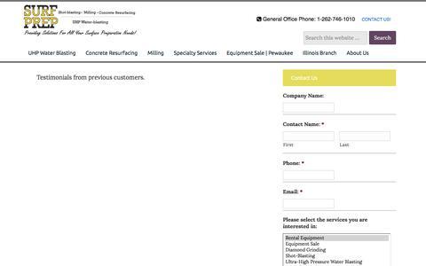 Screenshot of Testimonials Page surfprep.com - Testimonials - Surf Prep Inc. - captured July 6, 2017