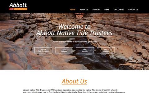 Screenshot of Home Page antt.com.au - Native Title Trusts, Services, WA - Abbott Native Title Trustees - captured Jan. 27, 2015