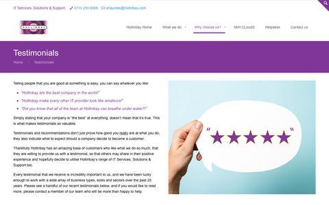 Screenshot of Testimonials Page hollinbay.com - Testimonials - Hollinbay Consultancy Services Ltd.Hollinbay Consultancy Services Ltd. - captured Jan. 31, 2016