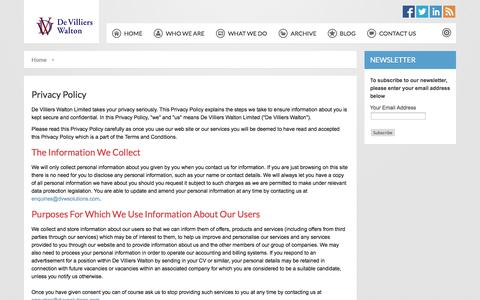 Screenshot of Privacy Page dvwsolutions.com - Privacy Policy - captured Oct. 5, 2014
