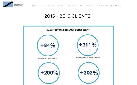 Screenshot of Case Studies Page wardandfifth.com - Ward & Fifth Consulting, Helping startups & established companies grow - captured July 7, 2018