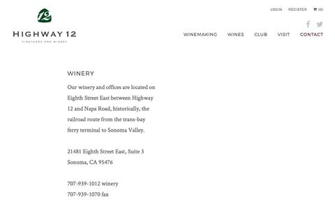 Screenshot of Contact Page highway12winery.com - Contact - Highway 12 Winery & Vineyards - captured Aug. 14, 2017