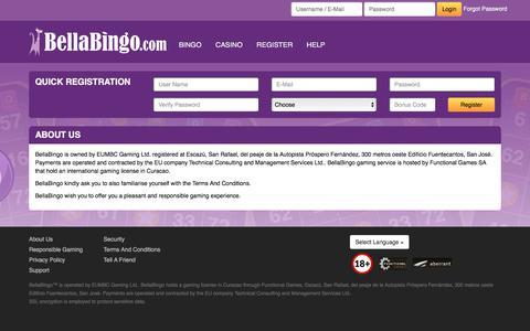 Screenshot of About Page bellabingo.com - BellaBingo - captured March 29, 2016