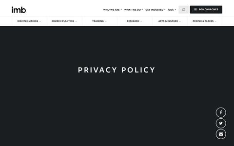 Screenshot of Privacy Page imb.org - Privacy Policy - International Mission Board - captured May 22, 2018