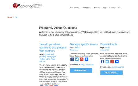 Screenshot of FAQ Page sapience.com.au - Frequently Asked Questions - Sapience Financial and Investment Services - captured Oct. 5, 2017
