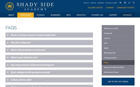 Screenshot of FAQ Page shadysideacademy.org - Shady Side Academy FAQs | Pittsburgh Day and Boarding School - captured Oct. 14, 2017