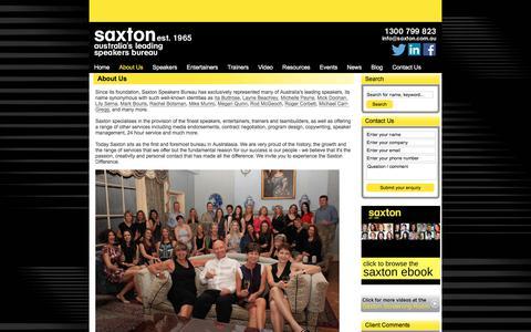 Screenshot of About Page saxton.com.au - About Us | Saxton Speakers Bureau - captured Sept. 22, 2018