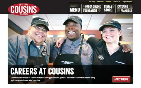 Screenshot of Jobs Page cousinssubs.com - Careers | Cousins Subs - captured Aug. 26, 2017
