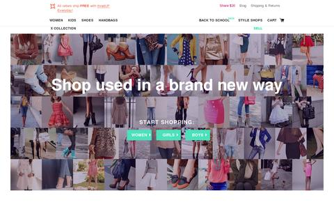 Screenshot of Home Page thredup.com - thredUP sells flawless used clothing - J Crew, BCBG and Gap at up to 90% off. UP your look the smart way. - captured July 11, 2014