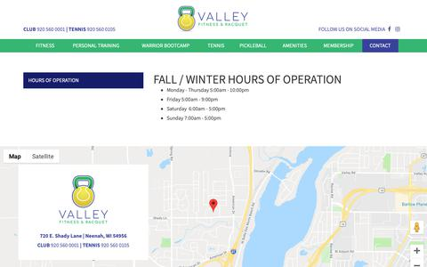 Screenshot of Hours Page valleyfitnessandracquet.com - Hours of Operation :: Valley Fitness and Racquet - captured Oct. 20, 2018