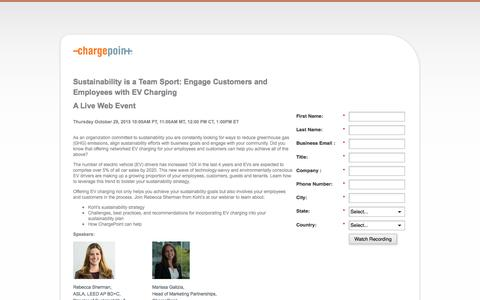 Screenshot of Landing Page chargepoint.com - Sustainability is a Team Sport: Engage Customers and Employees with EV Charging - captured Aug. 18, 2016