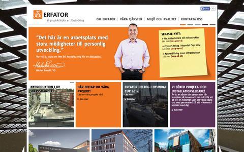 Screenshot of Home Page erfator.se - Vi projektleder er förändring Projektledarskap/Projektledning Stockholm - captured Oct. 2, 2014