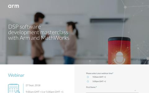 Screenshot of Landing Page arm.com - DSP software development masterclass with Arm and MathWorks - captured Sept. 19, 2018