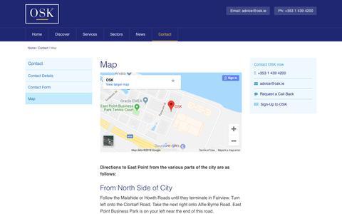 Screenshot of Maps & Directions Page osk.ie - OSK Map, OSK Accountants - Dublin - captured Sept. 21, 2018