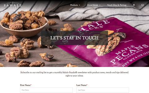 Screenshot of Signup Page sahalesnacks.com - Newsletter Sign-Up | Sahale Snacks® - captured Nov. 24, 2019