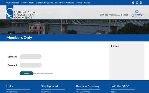 Screenshot of Login Page quincychamber.org - Members Only |  | Quincy Area Chamber of Commerce | Quincy, IL - captured Sept. 19, 2017