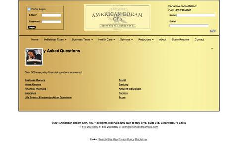 Screenshot of FAQ Page americandreamcpa.com - Tampa, FL Accounting Firm | Frequently Asked Questions - captured Nov. 20, 2016