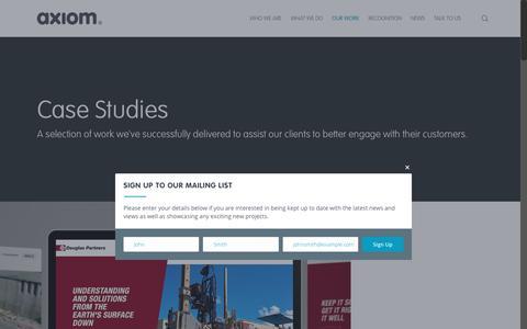 Screenshot of Case Studies Page axiomdp.com.au - Case Studies | Axiom Design Partners, Brand Consultants - captured Oct. 9, 2017