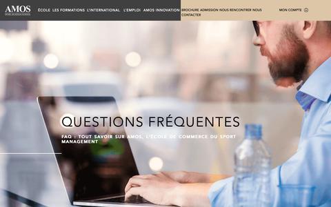 Screenshot of FAQ Page amos-business-school.eu - Tout savoir sur AMOS, l'École de commerce Sport Management - captured Oct. 2, 2018