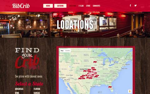 Screenshot of Locations Page ribcrib.com - Locations - RibCrib - captured Feb. 17, 2016