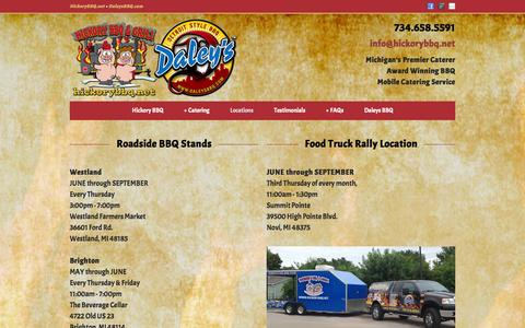 Screenshot of Locations Page hickorybbq.net - Catering & Corporate Lunch Deliveries | Hickory BBQ & Grill, Catering Service, Brighton and Howell, Michigan - captured Oct. 2, 2014