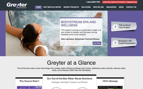 Screenshot of Home Page greyter.com - Greyter | Home | Creating Water Efficient Communities - captured Oct. 3, 2014