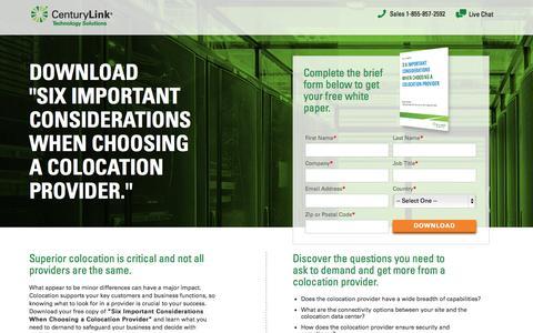 Screenshot of Landing Page centurylinktechnology.com - CenturyLink Technology Solutions - captured Oct. 27, 2014