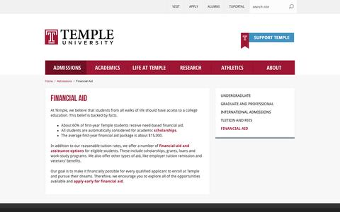 Financial Aid | Temple University