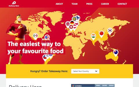 Screenshot of Home Page deliveryhero.com - Delivery Hero - The Easiest Way to Your Favourite Food - captured Sept. 15, 2014