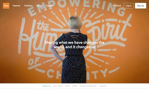 Screenshot of About Page chimp.net - Chimp | About Us - Sharing what we have changes the world, and it changes us - captured Aug. 29, 2016