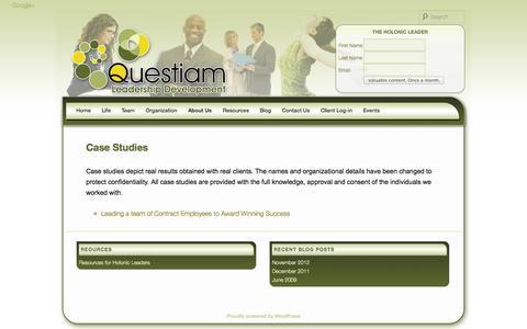 Screenshot of Case Studies Page questiam.com - Case Studies | Questiam - captured Oct. 3, 2014