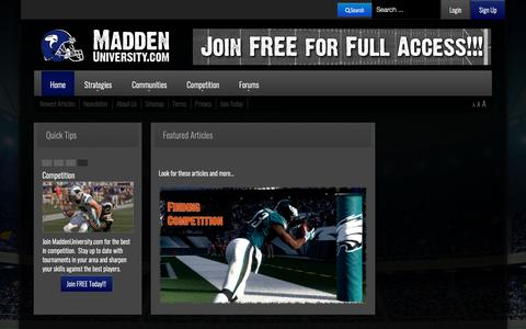 Screenshot of Home Page maddenuniversity.com - Madden NFL Strategies, Communities, & Competition - MaddenUniversity.com - captured Nov. 6, 2018