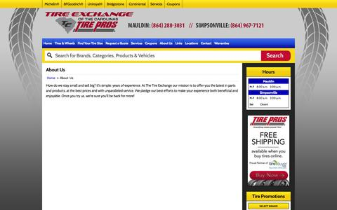 Screenshot of About Page tireexchange.com - About Us Tire Exchange - Mauldin Mauldin, SC (864) 288-3031 - captured Oct. 9, 2014