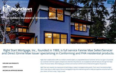 Screenshot of Home Page rsmwholesale.com - Right Start Mortgage - Wholesale Division - captured Oct. 22, 2017