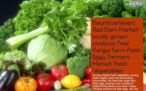 Screenshot of Home Page redbarnmarket.net - Baumhoefeners Red Barn Market: locally grown produce, Free Range Farm Fresh Eggs, Farmers Market Fresh Vegetables - captured Aug. 13, 2015