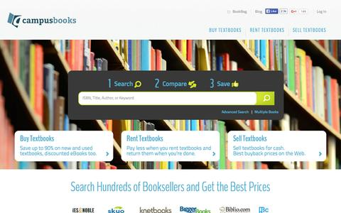 Screenshot of Home Page campusbooks.com - CampusBooks.com - Buy Textbooks, Sell Textbooks, Rent Textbooks. Your College Textbook Headquarters - captured Oct. 23, 2015