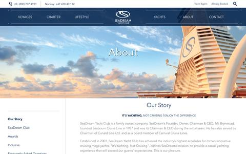 Screenshot of About Page seadream.com - About the SeaDream Yacht Club Small Luxury Cruise Line - captured Aug. 25, 2016