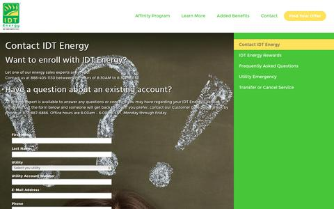 Screenshot of Contact Page idtenergy.com - Contact IDT Energy Customer Service | IDT Energy - captured July 19, 2016