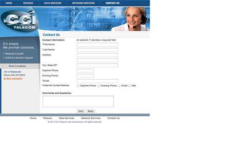 Screenshot of Contact Page ccitelecom.net - CCI Telecom - captured Sept. 26, 2014