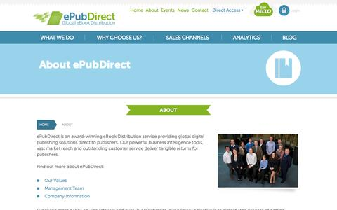 Screenshot of About Page epubdirect.com - ePubDirect - Global eBook Distribution - About - captured Sept. 16, 2014