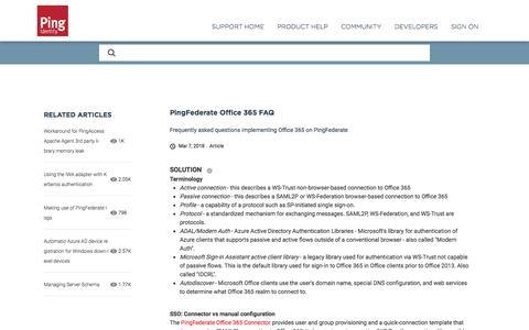 PingFederate Office 365 FAQ