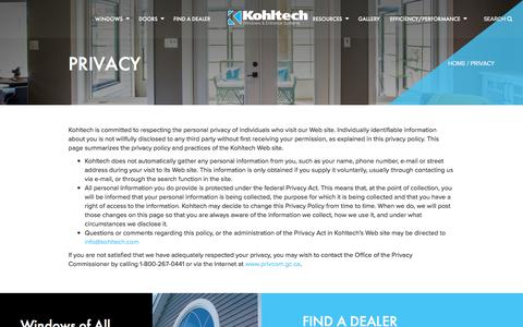 Screenshot of Privacy Page kohltech.com - Privacy | Kohltech - captured Feb. 4, 2018