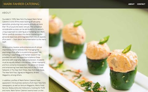 Screenshot of About Page markfahrer.com - About | Mark Fahrer Catering - captured Feb. 4, 2016