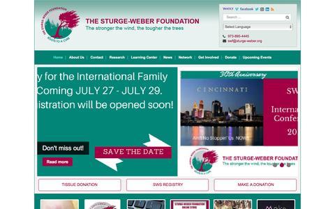 Screenshot of Home Page sturge-weber.org - The Sturge-Weber Foundation - captured Dec. 1, 2016