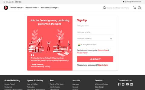 Screenshot of Signup Page notionpress.com - Get your book published right away | Sign up for free - captured Jan. 31, 2020